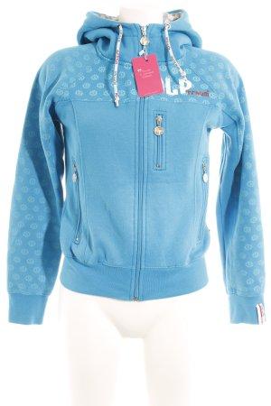 Sweatjacke neonblau Motivdruck Casual-Look