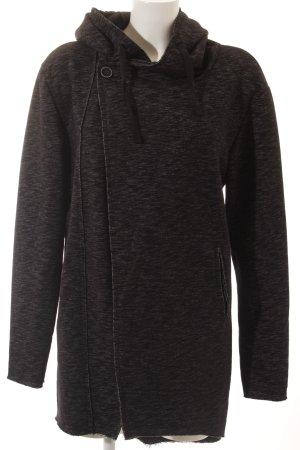 Chaqueta de tela de sudadera negro-blanco moteado look Street-Style
