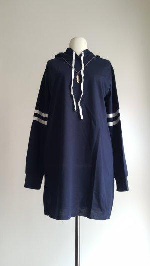 Vestido de tela de sudadera blanco-azul Poliéster