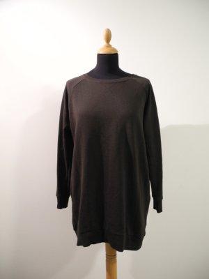Sweatkleid Sweat Jersey dunkelgrün grünschwarz long Pullover