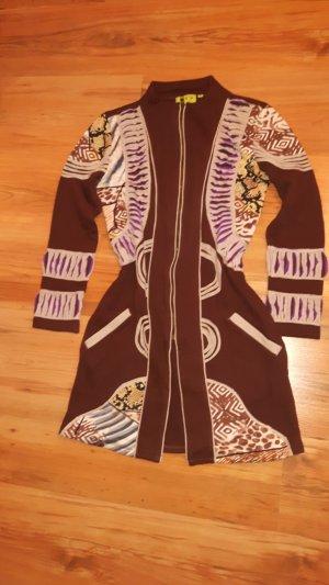 Chaqueta de tela de sudadera marrón-marrón oscuro