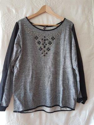 Sweatshirt 40/42 mit Nieten grau mesh