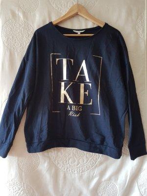 sweatshirt 44 dunkelblau Goldprint