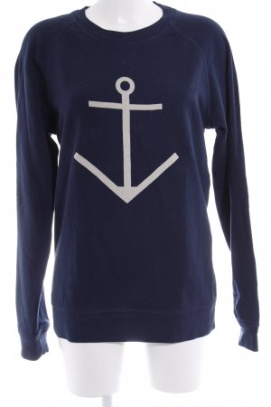 Sweatshirt dunkelblau platzierter Druck Casual-Look