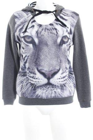 Sweat Shirt dark grey-grey brown animal pattern casual look