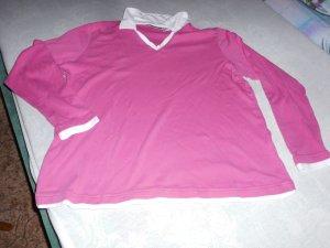 V-hals shirt wit-neonroos Katoen