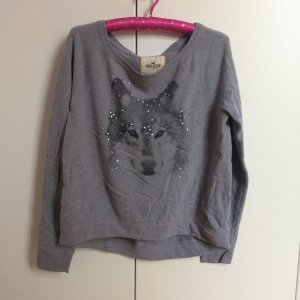 Sweatshirt grau Glitzer Wolf