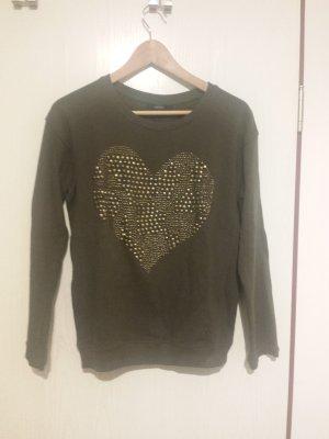 Sweatshirt, khaki, mit goldenen Nieten, Größe S