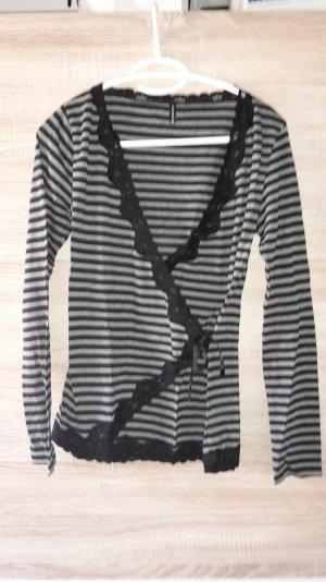 Sweatshirt Langarm Streifen Spitze Wickelcardigan Größe 38 M