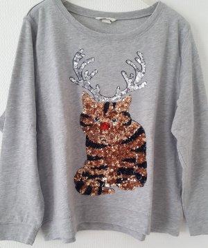 Sweatshirt m. weihnachtlichem Pailettenmotiv * Gr. XL