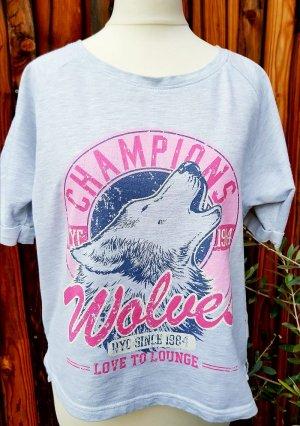 Sweatshirt mit Applikation grau rosa neu Gr. 34 XS