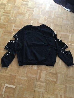 Sweatshirt mit Perlen und Cutouts zara knit S