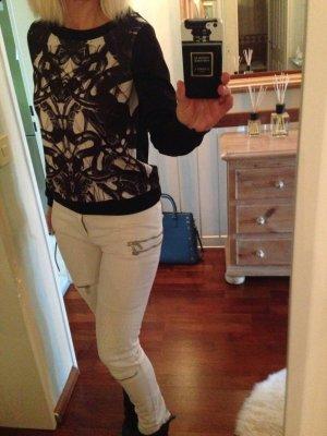 Sweatshirt Neoprenoptik Schwarz Stylish