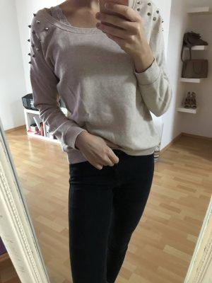 Sweatshirt Nieten beige Bershka M