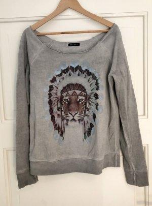Sweatshirt Pullover Grau Baumwolle Print Tiger