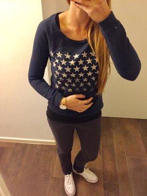 Sweatshirt Pullover langärmlig dunkelblau Sterne Oberteil Only
