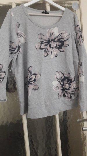 Sweatshirt Pullover Mama H&M XL grau Blumen bunt