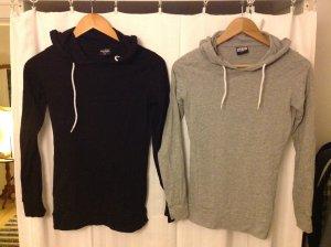 Sweatshirt pullover mit kapuze schwarz und grau