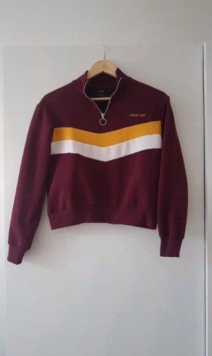Sweatshirt Pullover mit Streifen vorne und Reißverschluss