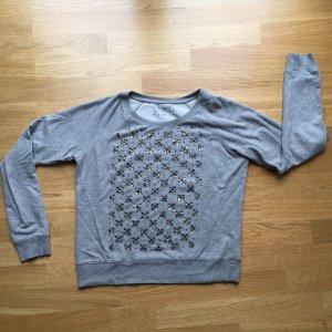 Sweatshirt Pullover Pulli mit Schmucksteinen French Connection grau Gr M