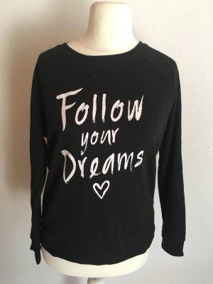 Sweatshirt Pullover Sweater schwarz Statement Gr. M