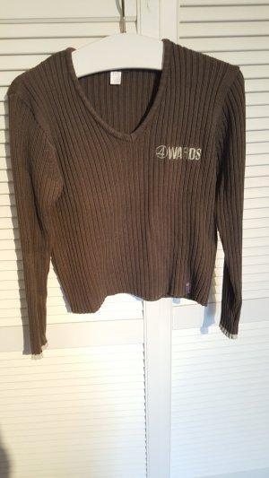 Sweatshirt, Pullover, V- Ausschnitt, Größe 40/42, grün, Langarm