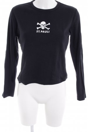 Sweat Shirt black-white themed print casual look