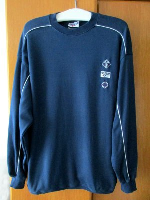 Sweatshirt Sportshirt Shirt Langarm blau dunkelblau weiß 100 % Baumwolle Gr. L