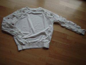 Sweatshirt TOKYO FASHION weiss Spitzenärmel