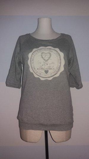 Sweatshirt gris clair-blanc cassé coton