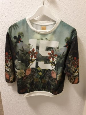 Zara Trafaluc Sweat Shirt white-green polyester