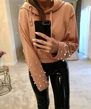 Zara Pull à capuche abricot-blanc