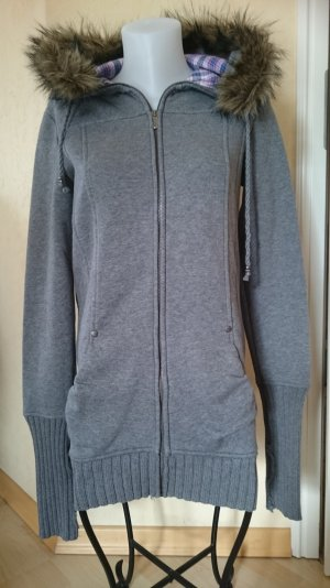 Sweatshirtjacke / Mantel Grau mit Fellkaputze Gr M