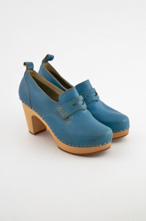 SWEDISH HASBEENS Damen Clog Pumps Mod. LOAFER Leder Blau Slipper Absatz Gr. 39