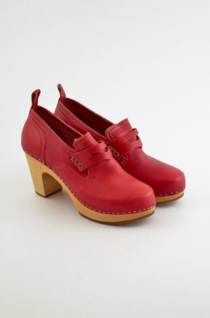 SWEDISH HASBEENS Damen Clog Pumps Mod. LOAFER Leder Rot Slipper Absatz Gr. 39