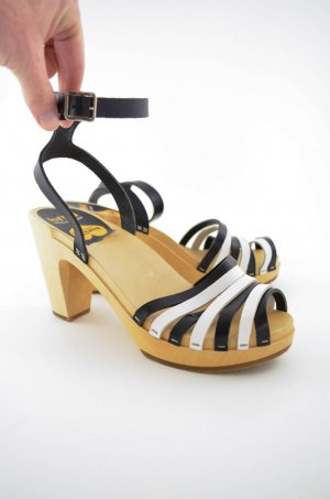 Swedish hasbeens Platform High-Heeled Sandal white-black leather
