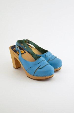 SWEDISH HASBEENS Damen Clog Sandaletten Mod. 60'S SLINGBACK Hellblau Leder Gr.38