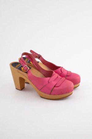 SWEDISH HASBEENS Damen Clog Sandaletten Mod. 60'S SLINGBACK Pink Leder Gr. 38