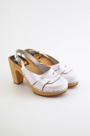 SWEDISH HASBEENS Damen Clog Sandaletten Mod. 60'S SLINGBACK Weiß Leder Gr. 38