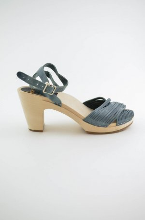SWEDISH HASBEENS Damen Clog Sandaletten Mod. STRAPPY Leder BLUE NUBUK Blau 38