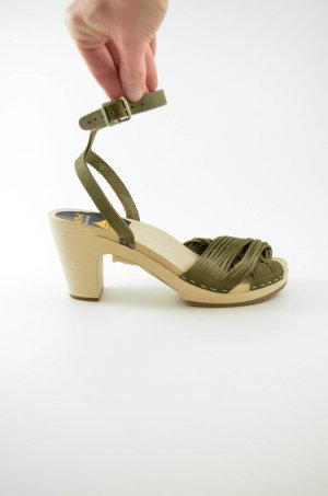SWEDISH HASBEENS Damen Clog Sandaletten Mod STRAPPY Leder OLIV NUBUK Grün 38