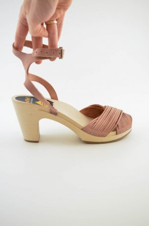 Swedish hasbeens Strapped High-Heeled Sandals dusky pink-beige leather