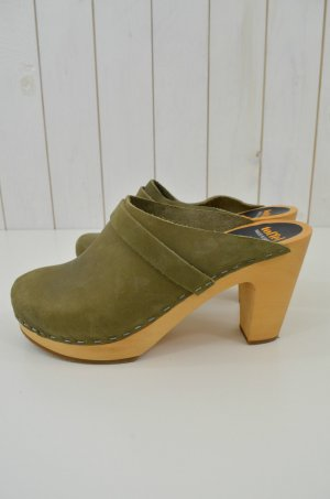SWEDISH HASBEENS Damen Clogs Slip In Super High Oliv Natur Leder Holz Gr:38 Neu!