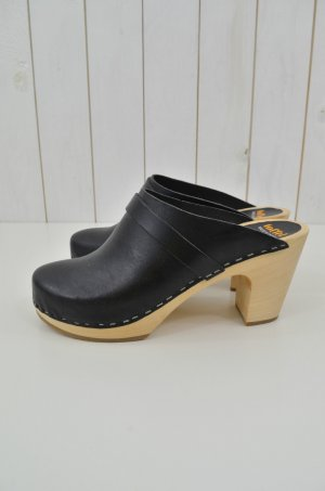 SWEDISH HASBEENS Damen Clogs Slip In Super High Schwarz Natur Leder Holz Gr.39