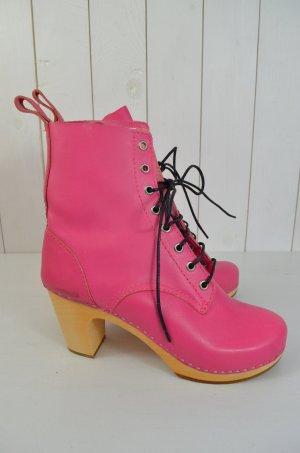 SWEDISH HASBEENS Damen Stiefelette Geschnürt Clogs Plateau Leder Pink Gr.39