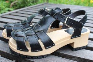 Swedish hasbeens Clog Sandals black-sand brown leather