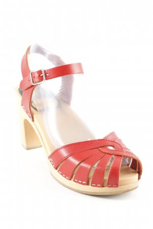Swedish hasbeens Strapped High-Heeled Sandals red elegant
