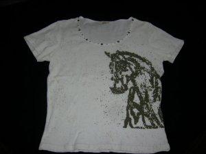 Sweet T-Shirt Stretch in wollweiß-gesprenkelt mit Gold und Glitzer am Ausschnitt
