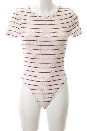 Sweewe Bodyblouse wit-rood gestreept patroon casual uitstraling