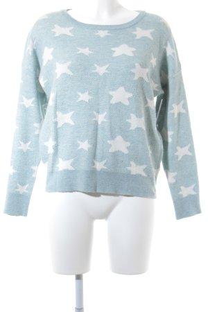 Sweewe Strickpullover blassblau-weiß Sternenmuster Casual-Look